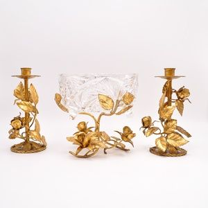 Italy golden crystal bowl & candle holders, Tole